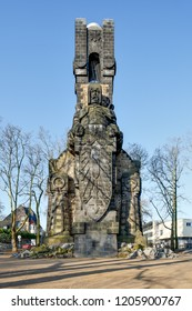Cologne, Germany - April 9 2016: Bismarck Tower after refurbishment in 2016. The monument was erected in 1903.