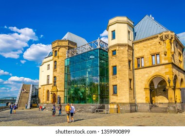 COLOGNE, GERMANY, AUGUST 11, 2018: Chocolate museum in Cologne situated next to the German sport and olympic museum at Immhof, Germany