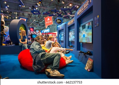 Cologne, Germany, August 13, 2014: Minecraft presentation on gamescom. Gamescom is a trade fair for video games held annually at the Koelnmesse in Cologne.