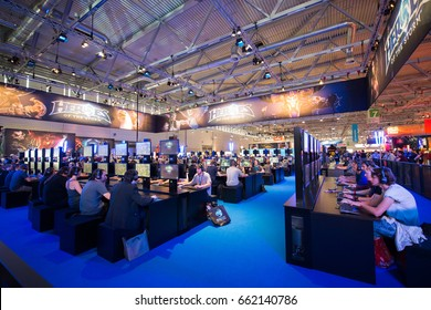 Cologne, Germany, August 13, 2014: Blizzard pavilion on gamescom. Gamescom is a trade fair for video games held annually at the Koelnmesse in Cologne.