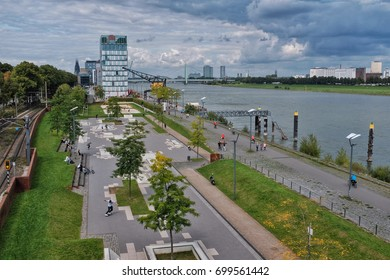 COLOGNE, GERMANY - AUGUST 20: The Rheinauhafen of Cologne was converted into a recreational area with sports facilities, restaurants and galleries. The Rheinauhafen is a popular excursion destination.