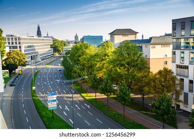 Cologne, Germany- August 22, 2015 - The aerial view of the early sunny morning with empty street.