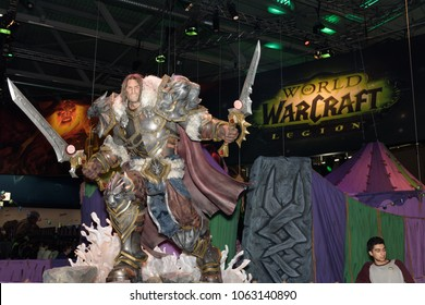 Cologne, Germany - August 24, 2017: Oversized figure from the game World of Warcraft Legion at Gamescome 2017. Gamescom is a trade fair for video games held annually in Cologne.