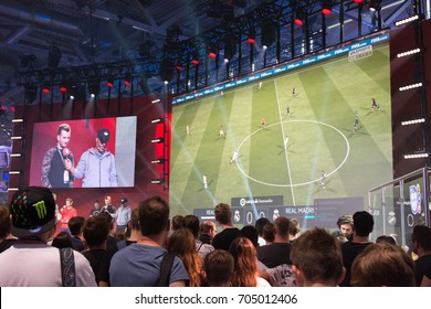 Cologne, Germany - August 26, 2017 - Professional gamer playing Fifa 18