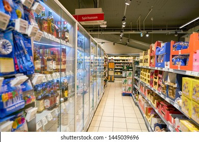 COLOGNE, GERMANY - CIRCA OCTOBER, 2018: interior shot of a REWE City supermarket in Cologne.