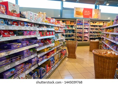 COLOGNE, GERMANY - CIRCA OCTOBER, 2018: interior shot of a REWE City supermarket in Cologne Bonn Airport.