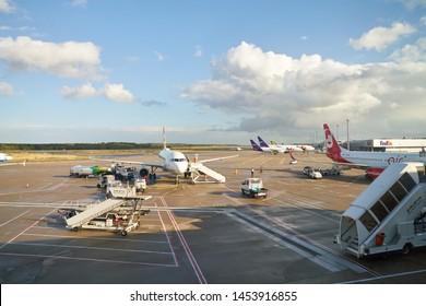 COLOGNE, GERMANY - CIRCA OCTOBER, 2018: an aircraft on tarmac at Cologne Bonn Airport.