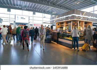 COLOGNE, GERMANY - CIRCA OCTOBER, 2018: interior shot of Cologne Bonn Airport.