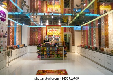 COLOGNE, GERMANY - CIRCA OCTOBER, 2018: interior shot of Haribo shop in Cologne Bonn Airport. Haribo is a German confectionery company.