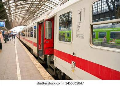 COLOGNE, GERMANY - CIRCA OCTOBER, 2018: a train seen on platrform at Cologne main station.
