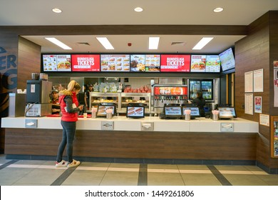 COLOGNE, GERMANY - CIRCA SEPTEMBER, 2018: interior shot of Burger King in Cologne.