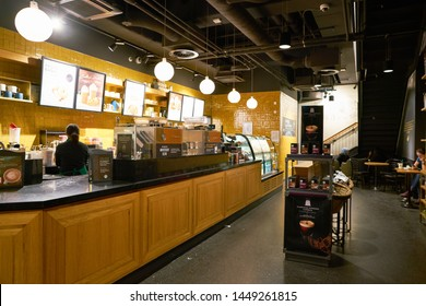 COLOGNE, GERMANY - CIRCA SEPTEMBER, 2018: interior shot of Starbucks Coffee in Cologne.