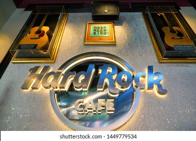 COLOGNE, GERMANY - CIRCA SEPTEMBER, 2018: close up shot of Hard Rock Cafe sign. Hard Rock Cafe Inc. is a chain of theme restaurants.
