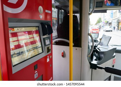 COLOGNE, GERMANY - CIRCA SEPTEMBER, 2018: a ticket machine at a bus in Cologne. A bus is a road vehicle designed to carry many passengers.