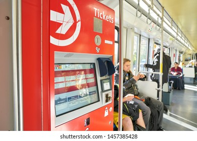 COLOGNE, GERMANY - CIRCA SEPTEMBER, 2019: close up shot of ticketing machine at a tramway in Cologne.