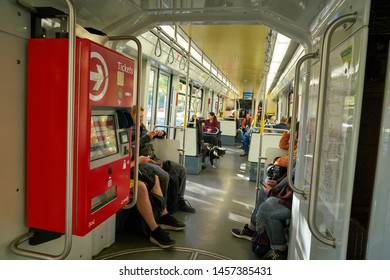 COLOGNE, GERMANY - CIRCA SEPTEMBER, 2019: interior shot of a tramway in Cologne.