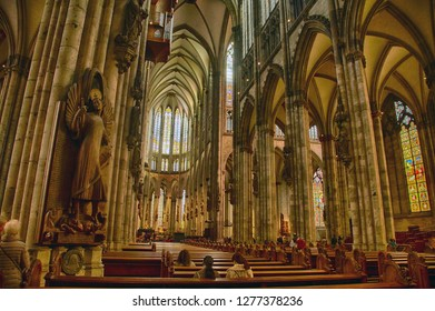 COLOGNE, GERMANY - DEC 17, 2018 - Gothic columns in the nave of Cathedral, Cologne, Germany