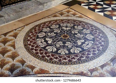 COLOGNE, GERMANY - DEC 17, 2018 - Inlaid marble floor of the Cathedral, Cologne, Germany
