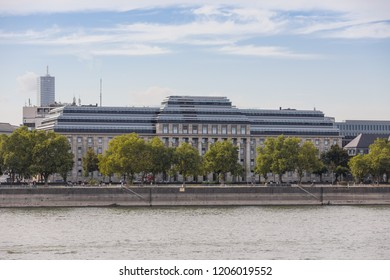 """Cologne, Germany - December 16 2016: Exterior of the builing """"Reichsbahndirektion Köln"""" after refurbishment in 2016. It is now rented out to EASA, the European Aviation Safety Agency."""