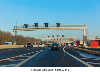 Cologne, Germany - December 30, 2016: Bundesautobahn 1 at Cologne. With 749 km it is the third length Bundesautobahn in Germany