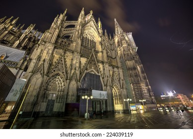 Cologne, Germany, the Dome at Night.Wide angle.