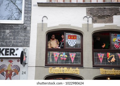 Cologne, Germany - February 10 2018: Revellers partying in the street in Fancy-Dress at Cologne Carnival