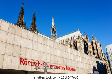 Cologne, Germany - February 16, 2019: Romano-Germanic Museum in Cologne. It is an archaeological museum with a large collection of Roman artifacts