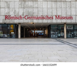 Cologne, Germany - February 19th 2020: The exterior of the Romisch Germanisches Museum in the city of Cologne in Germany.  The museum shows the archaelogical heritage of the city.