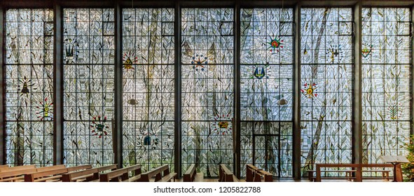 Cologne, Germany - January 19 2016: Stained glass windows of St. Maria Königin (Köln-Marienburg)