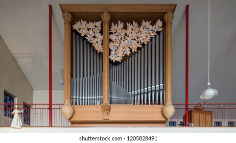 Cologne, Germany - January 19 2016: Organ loft of St. Maria Königin in Köln-Marienburg