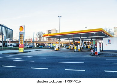 COLOGNE, GERMANY - JANUARY 22: Shell filling station on January 22, 2014 in Cologne. Royal Dutch Shell is an Anglo�Dutch multinational oil and gas company and 2012 the largest company in the world.