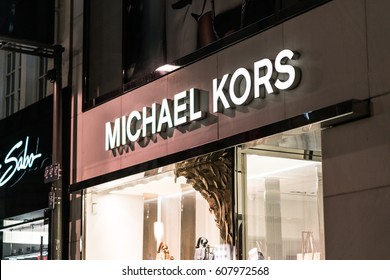 Cologne, Germany - January 29, 2017: Michael Kors boutique. Founded in 1981, the American company sells men's and women's and ready-to-wear, accessories, watches, jewelry, footwear and fragrance