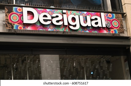 Cologne, Germany - January 29, 2017: Desigual store. Desigual is a clothing brand headquartered in Barcelona, Spain, notable for its trendy patchwork designs, intense prints, asymmetrical designs