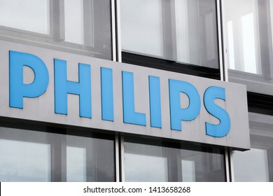 Cologne, Germany - July 2, 2017: Philips logo. Philips is a Dutch technology company headquartered in Amsterdam with primary divisions focused in the areas of electronics, healthcare and lighting