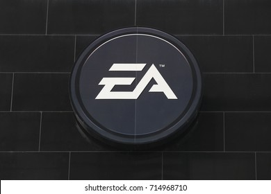 Cologne, Germany - July 2, 2017: Electronic Arts logo on a wall. Electronic Arts is an American video game company headquartered in Redwood City, California