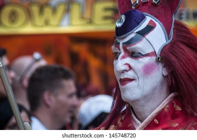 COLOGNE, GERMANY - JULY 7: costumed people at the CSD (Gay Pride Parade called Christopher Street Day) in Cologne on July 7, 2013