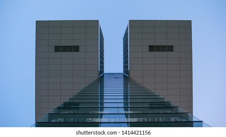 Cologne Köln, Germany june 1, 2019 looking up at Kranhaus cologne with clear blue backround