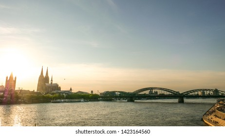 Cologne Köln, Germany June 12.2019 looking at city center of cologne with church blue clear sky and sunset in the backround