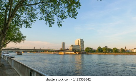 Cologne Köln, Germany June 12.2019 view at Lanxess center by sunset and clear sky