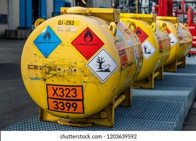 Cologne, Germany - June 13 2018: A hazmat container (transport vessel) for a liquid, water-reactive, flammable organometallic substance, defined by the UN number 3399