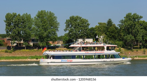 "Cologne, Germany - June 5 2018: Sightseeing Ship ""RheinCargo"" (ENI 04800810, built in 2001), operated by Personenschifffahrt M. Schmitz GmbH & CO. KG, Bonn on the River Rhine."
