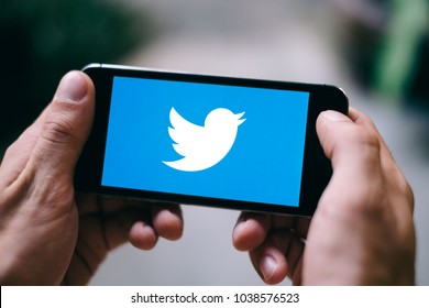 COLOGNE, GERMANY - MARCH 02, 2018: Closeup of Screen with TWITTER LOGO