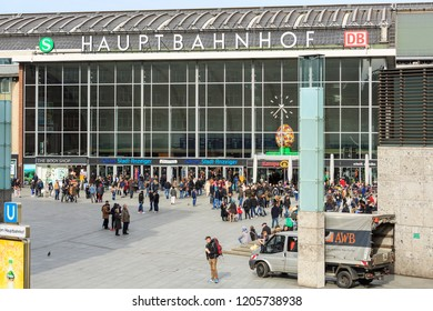 Cologne, Germany - March 1 2015: Hauptbahnhof Köln (Central Station Cologne) and the square in front of the main entrance