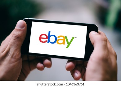 COLOGNE, GERMANY - MARCH 10, 2018: Closeup of iPhone Screen with eBay LOGO or ICON