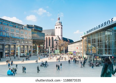 COLOGNE, GERMANY- March 14, 2018 : Main train station in Cologne, Germany
