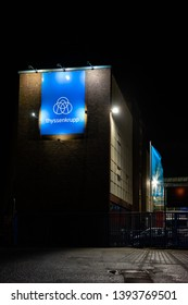 COLOGNE, GERMANY - May 02, 2019: thyssenkrupp Facility at night. Exterior of thyssenkrupp Schulte facility in Cologne, Germany.