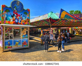 COLOGNE, GERMANY - MAY 11: Funfair in Cologne, Germany.