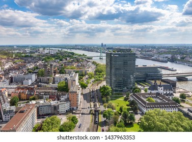 COLOGNE, GERMANY - MAY 12: Aerial view over the city of Cologne, Germany on May 12, 2019. Photo taken from Triangle tower.