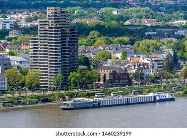 COLOGNE, GERMANY - MAY 12: Aerial view over the city of Cologne, Germany on May 12, 2019. View to Rhine riverside. Photo taken from Triangle tower.
