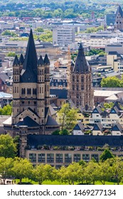 COLOGNE, GERMANY - MAY 12: Aerial view over the city of Cologne, Germany on May 12, 2019. View to Great Saint Martin church. Photo taken from Triangle tower.